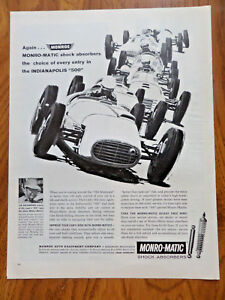 1960 Monro-Matic Monroe Shock Absorbers Ad  Indianapolis 500 Race Jim Rathmann