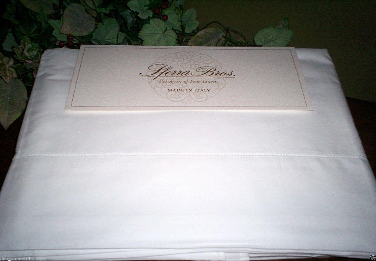Sferra Crisp Italian Percale LONG STAPLE Cotton Queen,King Sheet Set Weiß