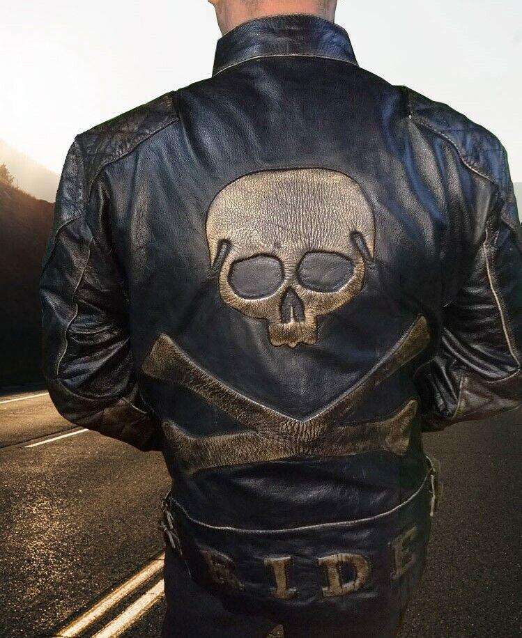 Shuut Para Hombres Chaqueta de cuero en relieve en Skull & Bones Motociclista Retro estilo vintage con aspecto envejecido