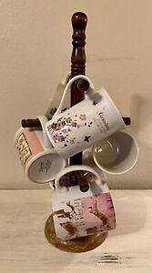Vintage Spindle 6-Mug Coffee Tea Cup Rack Stand Holder