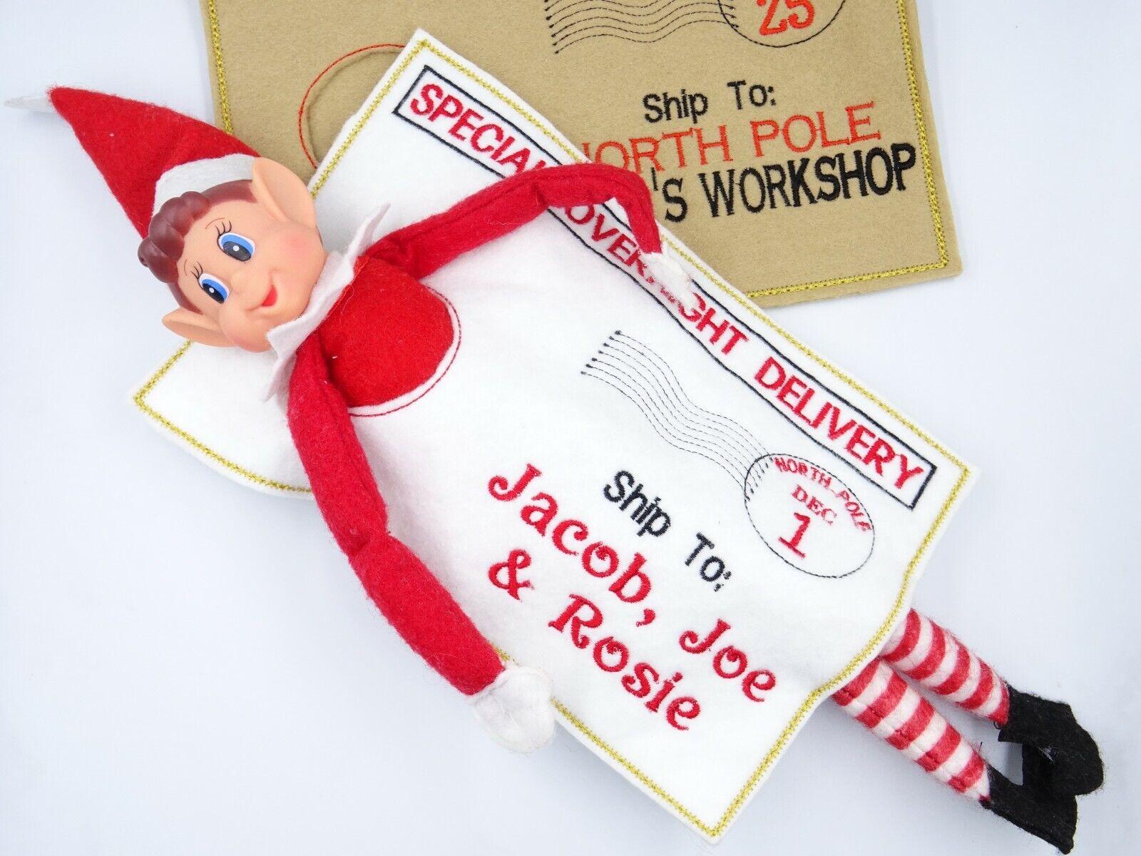 Fieltro de Navidad Personalizado Travieso Elf llegada Polo Norte bolsa de retorno envolvente
