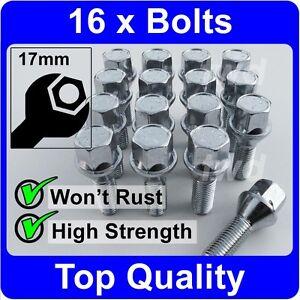 16x M12x1.5 CHROME RADIUS SEAT NUTS 17mm HEX HEAD