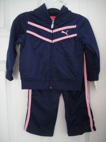 PUMA NWT GIRLS 2PC Track Suit Jacket Pant Top Warm Up NAVY Pink 12 18 24 2 2T