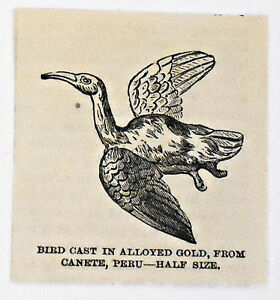 small-1883-magazine-engraving-BIRD-CAST-IN-ALLOYED-GOLD-FROM-CANETE-Peru