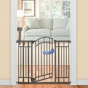 Baby-Safety Super Gate Extra Wide Toddler Walk Thru Stair Door Fence in Bronze