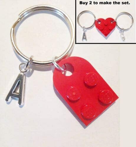 Red Lego half heart initial keychain A to Z letter buy 2 to make the full heart