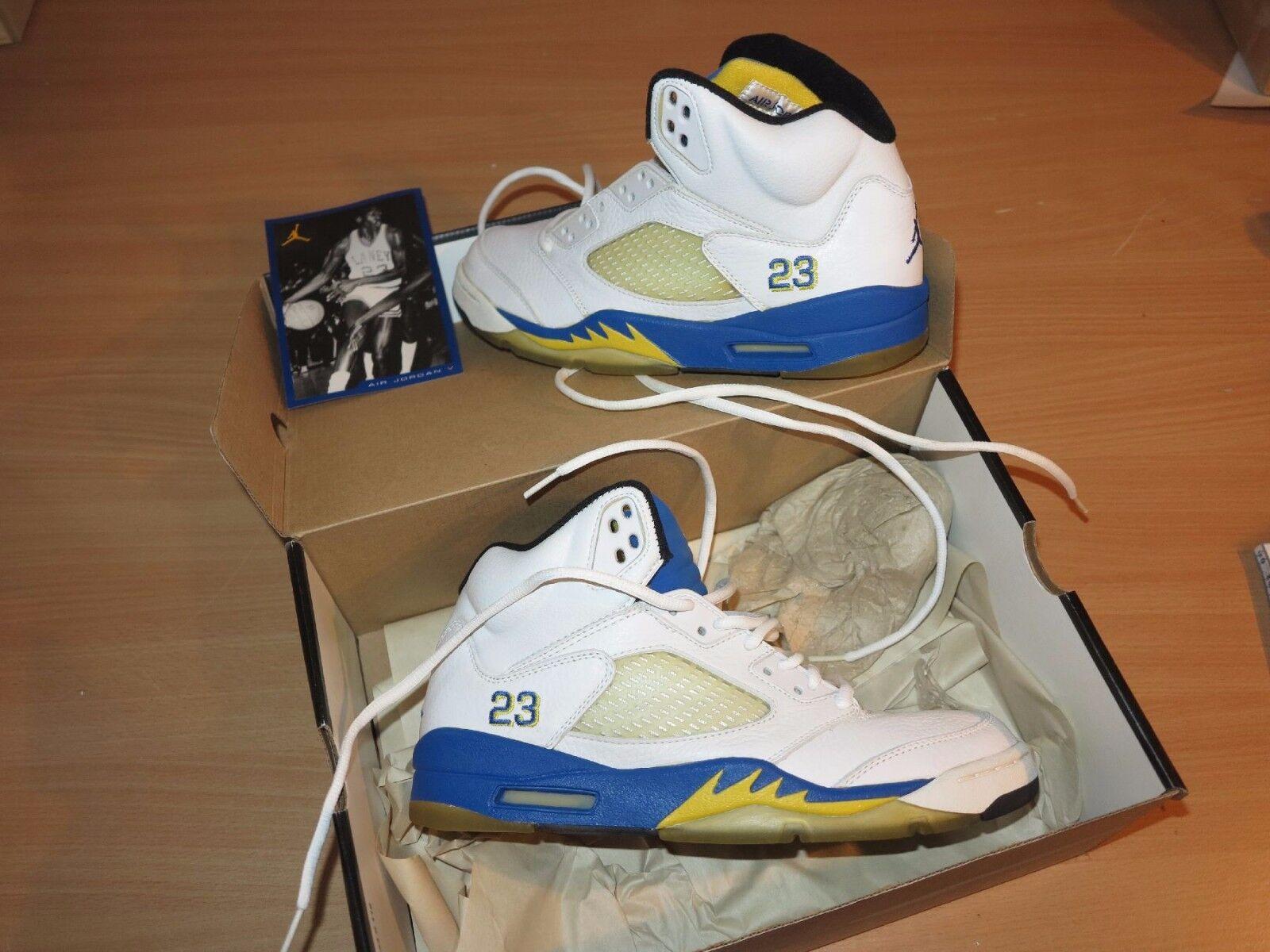 Nike Air Jordan 5 V LANEY BIANCO BLU MAIS 1999 Taglia 9,5/43 NUOVO MENTA RARA