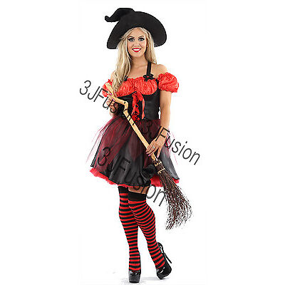 Women Ladies Funky Red Witch Fancy Dress Horror Glamour Halloween Costume (ER)