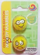 """GLASS MOODY MARBLE PACK """"NERD & SAD"""" TWO 1"""" SHOOTERS BY MEGA MARBLES"""