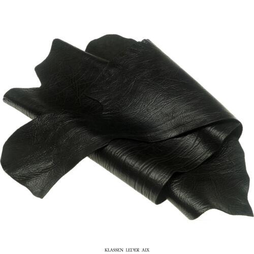 Schrumpfleder Schwarz 2,5 mm Dickleder Motorrad Echt Rindleder Leather I133