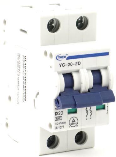 YuCo YC-20-2D Miniature Din Rail Circuit Breaker D Curve 20 Amp 2P 480VAC 220VDC