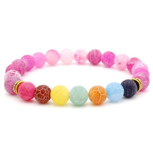 7 Chakra Reiki énergétique Agate Yoga 8 mm homme Femmes Lucky élastique Bracelets Bijoux