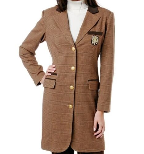 DG2 Diane Gilman Signature Crest Topper Coat $99.90 BROWN Small New