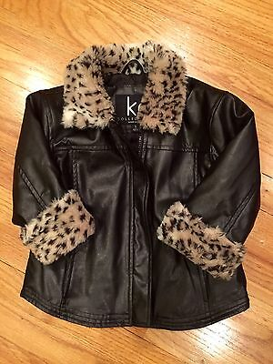 Girls Black Faux Leather Coat Jacket With Leopard Collar And Cuffs Size 2T