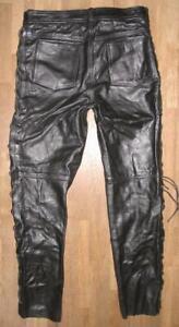 schwere-Herren-SCHNUR-LEDERJEANS-Biker-Lederhose-in-schwarz-ca-W35-034-L34-034