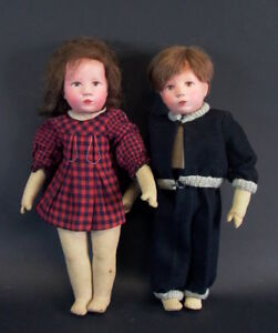 altes-Kaethe-Kruse-Puppenpaar-Maedchen-amp-Junge