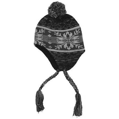 Peru Cusco Warm Mens Pom-Pom Knit Hat Cold Weather Winter Beanie Sherpa Cap Grey