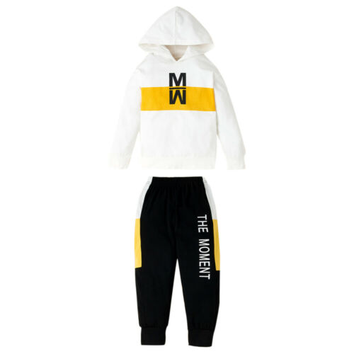 Toddler Kids Boys Girls Tracksuit Set Hooded Top Long Pants Outfits Clothes