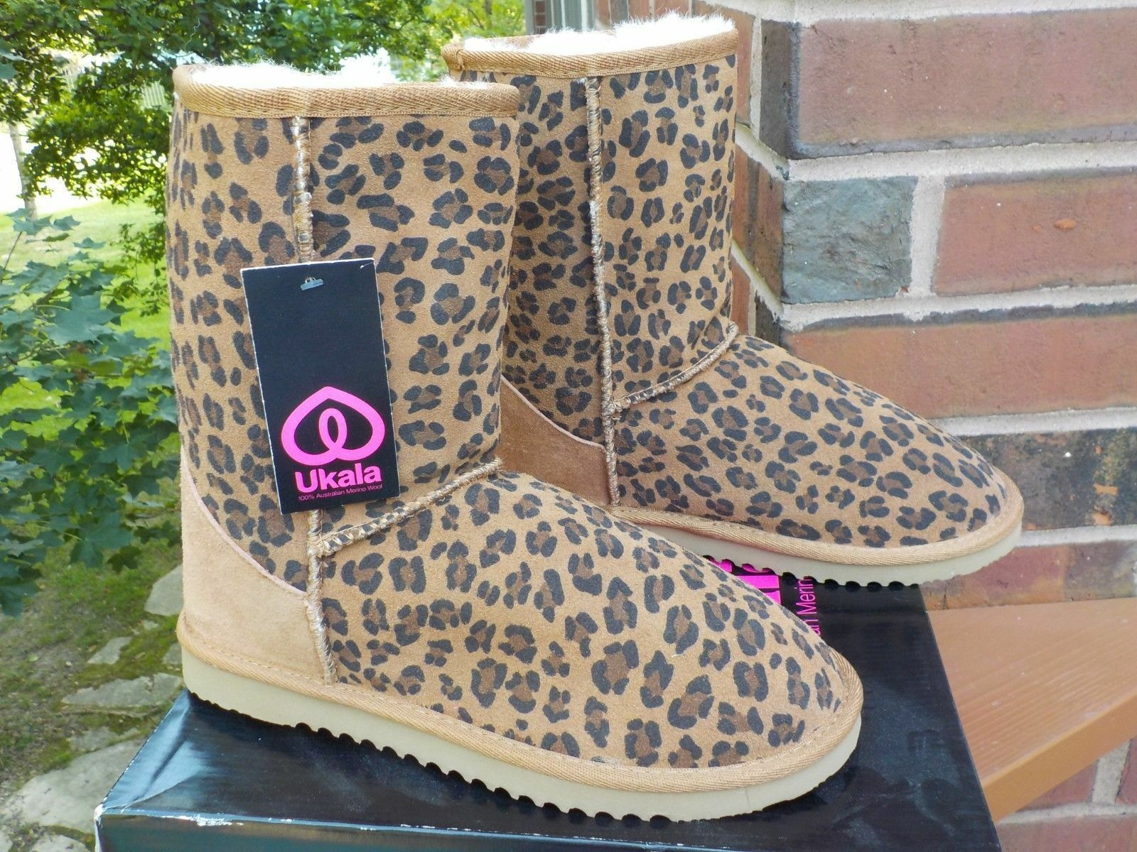 NIB Ukala Ally Leopard Print Chesnut Suede Wool Stiefel Lined Short Stiefel Wool damen Größe 9 52c4e1