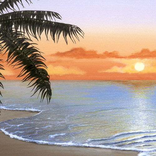 "50/""x15/"" TROPICAL SUNSET by ELENA PANIZZA RELAXING SEASCAPE BEACH HAVEN CANVAS"