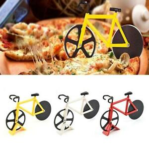 Stainless-Steel-Bicycle-Pizza-Cutter-Bike-Dual-Slicer-Chopper-Home-Kitchen
