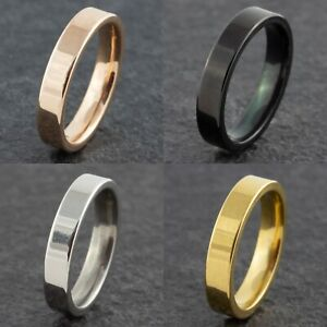 4mm-Stainless-Steel-Mens-Womens-Wedding-Band-Rose-Gold-Silver-Black-Ring-J-to-Z1