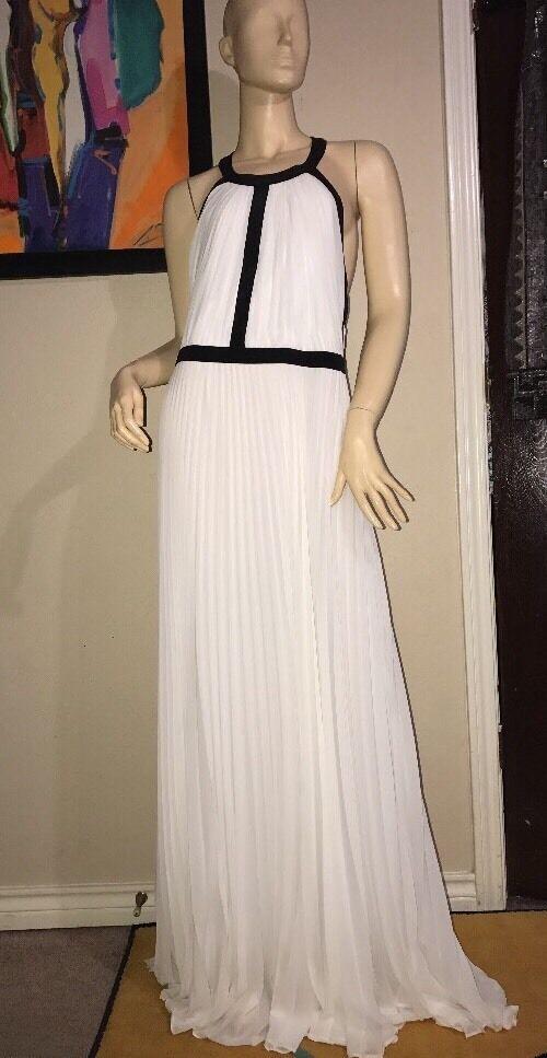 NWT Women's Nicole Miller Artelier White  495  Long Dress Size 12