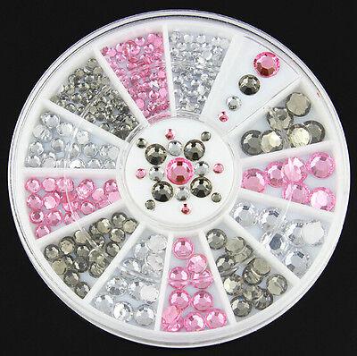 Acrylic Nail Art Decoration 4 Sizes Black White Pink Glitter Rhinestones