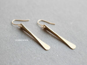 Image Is Loading Bar Dangle Earrings Geometric Gold