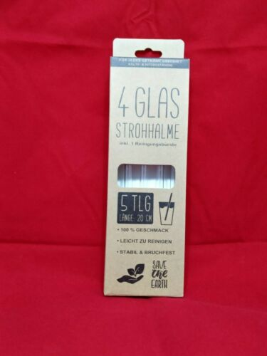 Drinking Straws Glass 4er Set with Cleaning Brush ** TOP ITEM **