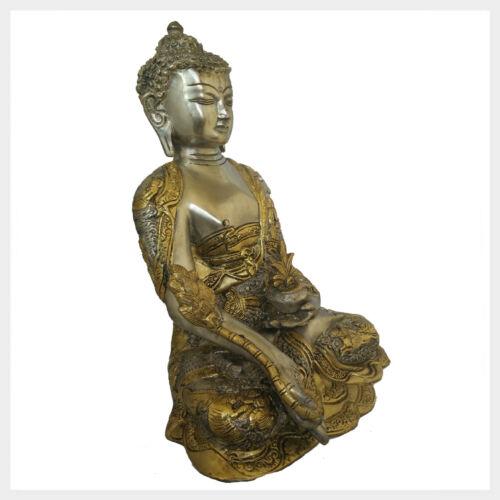 6 KG Figur Nepal Tibet Indien Buddhismus Medizinbuddha Silber Messing 29 cm ca