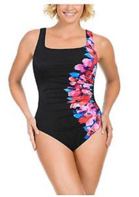 d72eb34928a41 Kirkland Signature by Miraclesuit Women Size 8 Side Course Swimsuit Bright