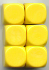 NEW Dice Set of 6 D6 (16mm) - Opaque Blanks  - Yellow