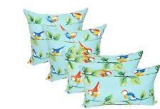 "Set of 4 -Richloom Sky Blue Curious Birds In/Outdoor 17"" Square & Lumbar Pillows"
