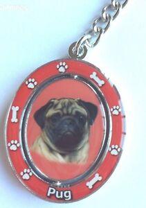 Details about PUG PUPPY DOG KEYRING KEYCHAIN SPINNER GLOSS SHINE ENAMEL  METAL~FREE PP UK