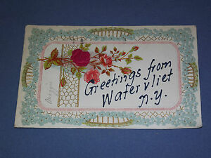 VINTAGE-1907-GREETINGS-FROM-WATERVLIET-NEW-YORK-POSTCARD