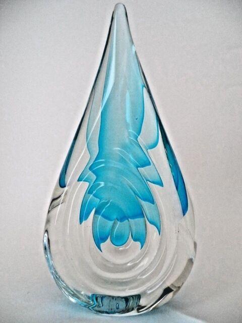 "New 10/"" Hand Blown Art Glass Fish Figurine Sculpture Statue Blue Clear"
