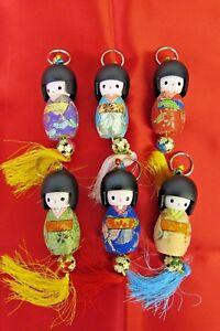 3-034-Grande-Stile-Giapponese-Kokeshi-DOLL-Bell-Portachiavi-Portachiavi