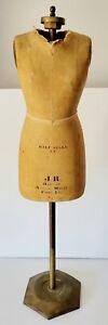 Vintage Antique J R Bauman Model Form Inc Dress Half Scale 14 Brass Stand & Base