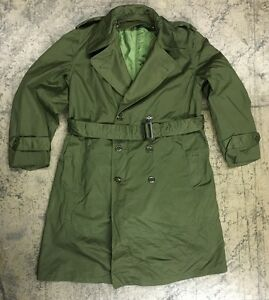 Us Army Trenchcoat Mantel Field Jacket Uniform Jeep Coat Oliv Large Short