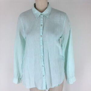 Eileen-fisher-woman-s-shirt-top-Tunic-Mint-green-Linen-button-down-Size-medium