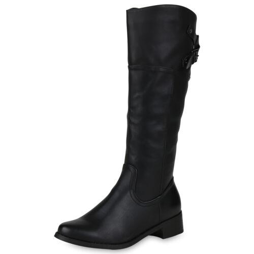 Damen Klassische Stiefel Schnallen Boots Blockabsatz Schuhe 818962 Top