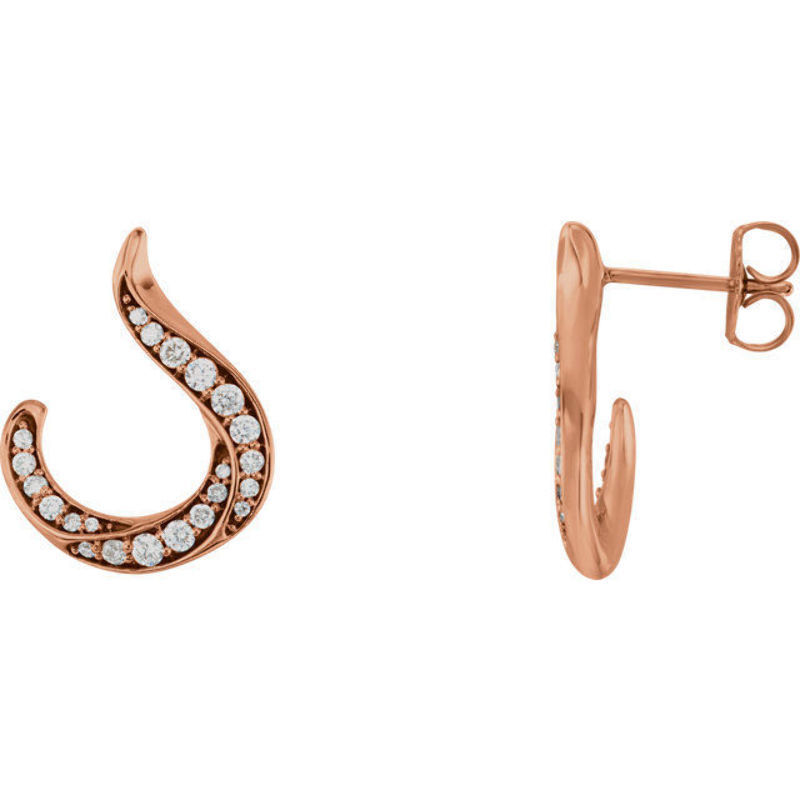 Diamond Crescent Earrings In 14K pink gold (3 8 ct. tw.)