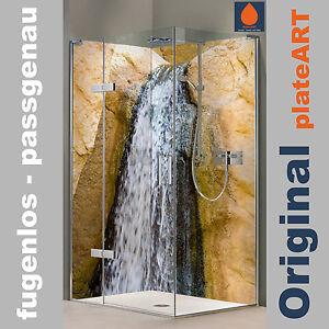 das bild wird geladen eck duschrueckwand rueckwand dusche alu fliesenersatz wasserfall sandstein - Ruckwand Dusche Bild
