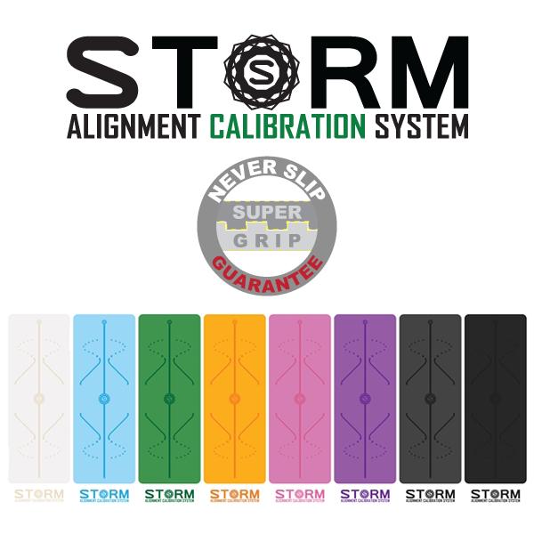 STORM Tappetino Yoga calibrazione Premium edizione Bianco, Arancione, Grigio, Celeste Celeste Celeste 15a
