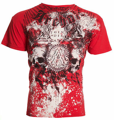 Archaic AFFLICTION Mens T-Shirt SYMBOLISM Skulls Tattoo Biker MMA UFC M-4XL $40