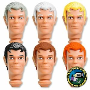 Complete Set of 6 Custom Clark 8 inch Roto Molded Heads for Retro figures