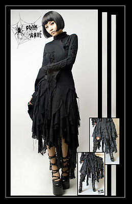 New Punk Rave Gothic Rock Multilevel Ajoure Skirt Q-079 ALL STOCK IN AUSTRALIA!
