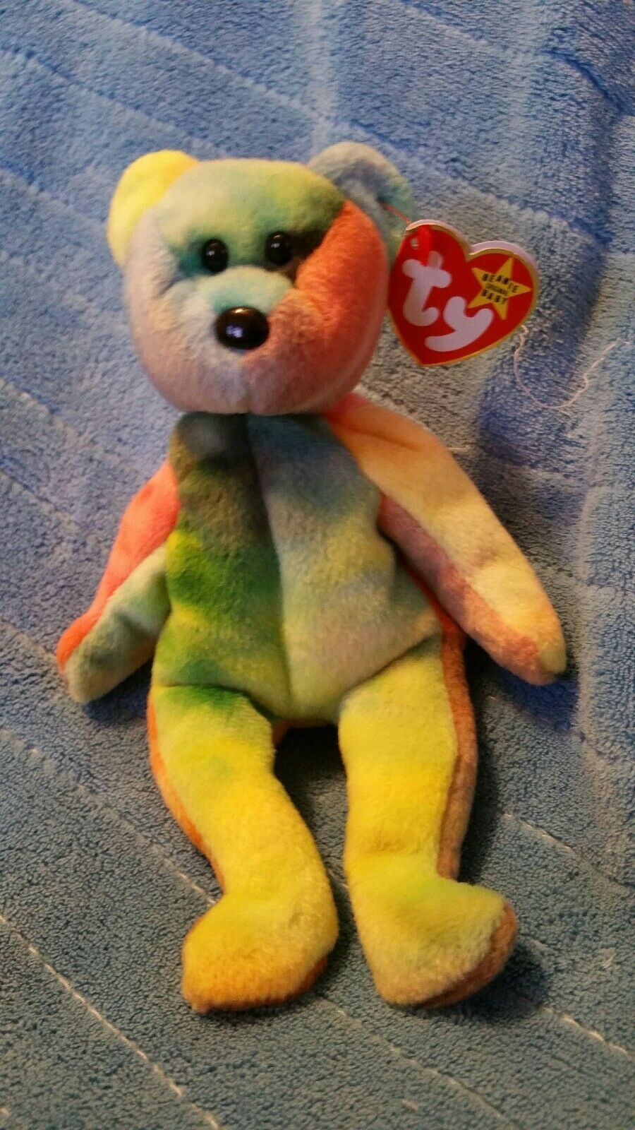 Ty beanie babies Garcia Pink right arm bluee left ear and Canadian tush tag