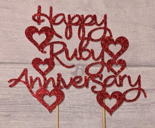 Feliz Rubí Aniversario de Bodas Brillo Cake Topper 40 años Celebración Fiesta